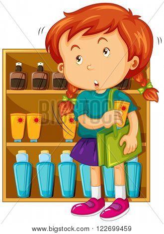 Girl shoplifting at the store illustration