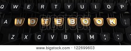 Typewriter with gold buttons in a row, assembling NOTEBOOK  word