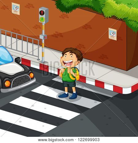 Boy crossing the road at zebra crossing illustration