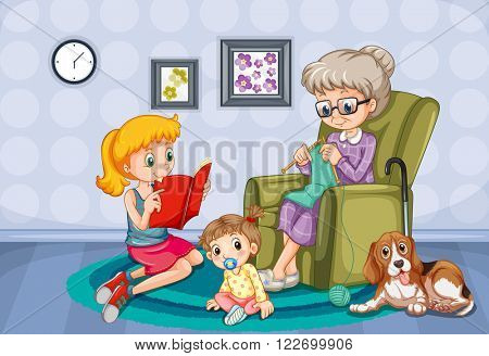 Grandmother and children in the room illustration