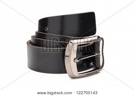 Rolled Black Faux Leather Belt