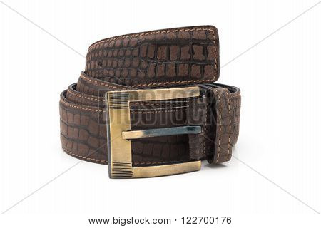 Rolled Mock Crocodile Leather Belt