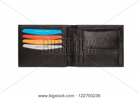 Cutout Of Black Leather Wallet With Card Holders