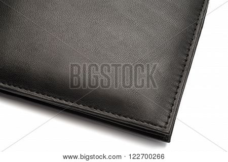 Black Fine Grain Leather Wallet With Latch