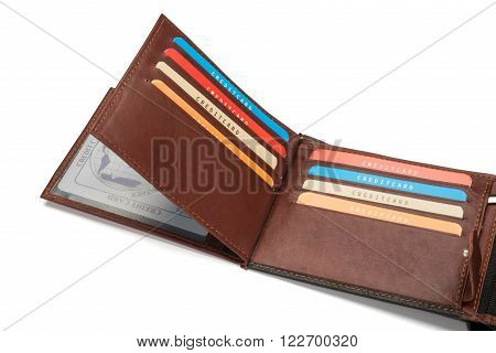 Brown Leather Wallet Card Compartments