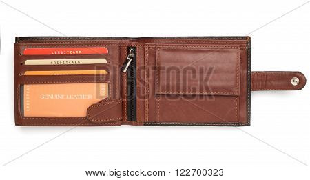 Opened Brown Leather Wallet