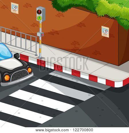 Scene with zebra crossing illustration