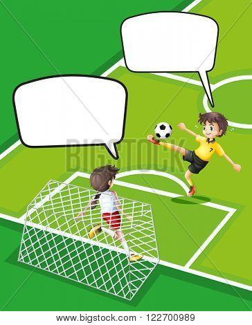 Boy and girl playing football illustration