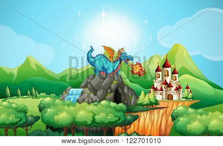 Dragon blowing fire over the castle illustration