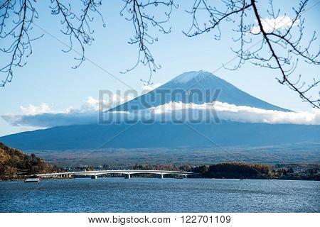 Beautiful view of Mount Fuji at Lake Kawaguchi in autumn This mountain is an famous natural landmark of Japan