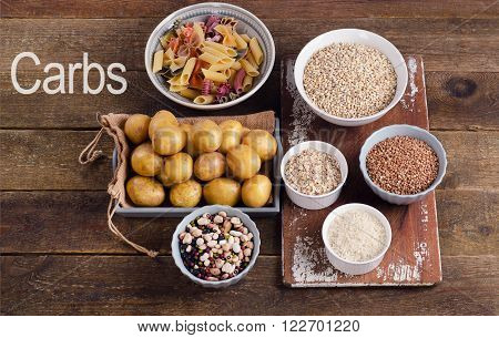 Healthy Food: Best Sources Of Carbs On A Rustic Wooden Background.