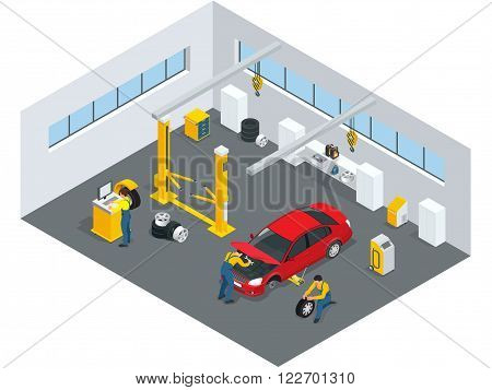 Auto mechanic service. Service station. Flat icons of maintenance car repair and working.  Isolated vector isometric illustration