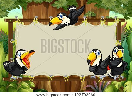 Frame design with toucans flying illustration