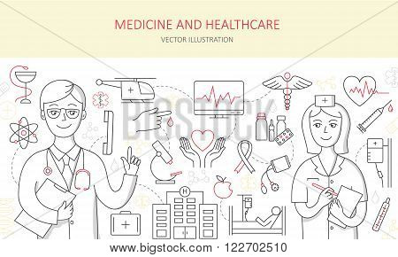Modern of thin linear concept on a theme medicine and Health symbols. High quality vector logos for modern concepts. Doodle design style concept  of medicine and healthcare.