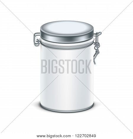 White tin box packaging container for tea or coffee isolated vector illustration