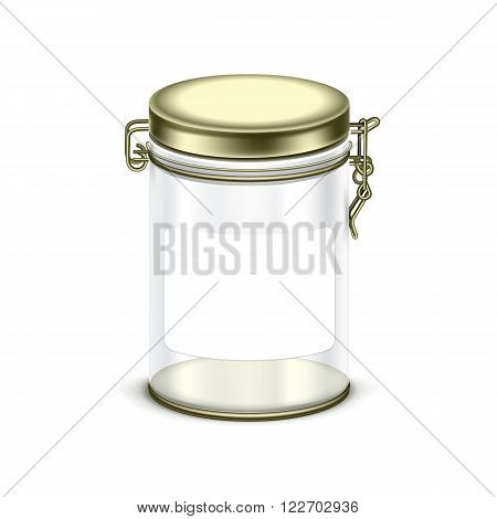 Vector transparent empty glass jar box packaging container isolated on white background