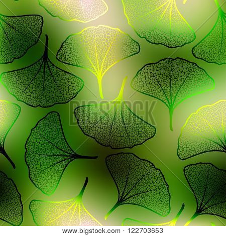 Seamless background pattern. Abstract leaves geometric pattern.