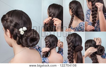 romantic braided bun updo with flowers tutorial