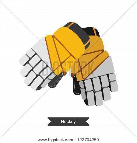 Vector hockey gloves. Isolated hockey glovest on white background. Ice hockey sports equipment. Ice hockey gloves in flat style.