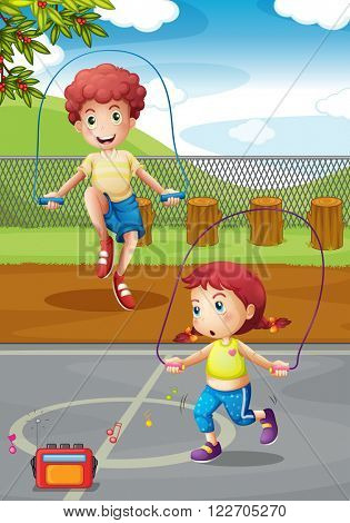 Boy and girl doing jumprope in the park illustration