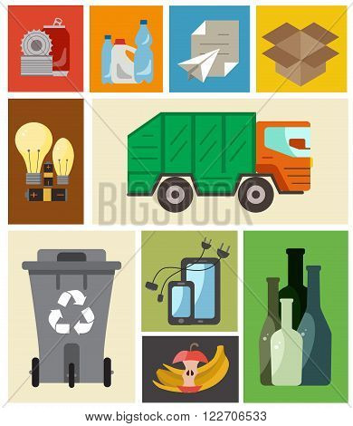 Waste disposal flat concept. Vector illustration of waste disposal categories with organic, paper, plastic, glass, metal, e-waste, batteries, light bulbs and mixed waste.Waste disposal icons set.