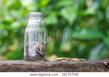 A glass jar filled with coins with greenery background