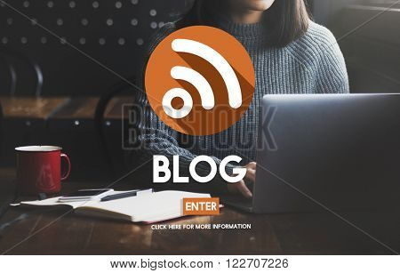 Blog Blogging Browsing Woman Concept