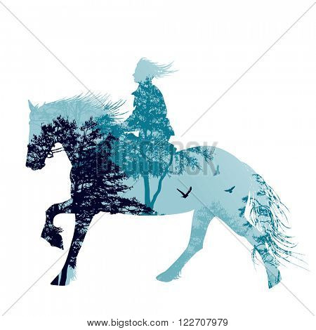 A horse rider silhouette with landscape, vector illustration