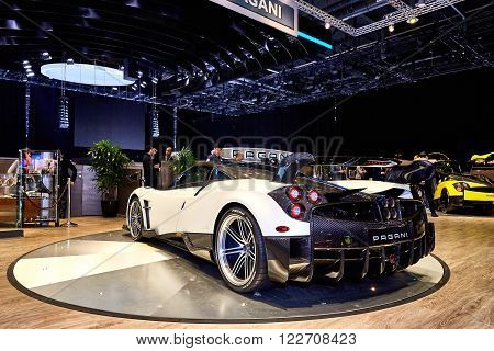 Geneva, Switzerland - February 29, 2016: 2016 Pagani Huayra BC presented on the 86th Geneva Motor Show in the PalExpo