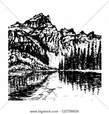 background view of beautiful mountain landscape with alpine lake and spruce forest in the distance a sketch hand drawn vector illustration