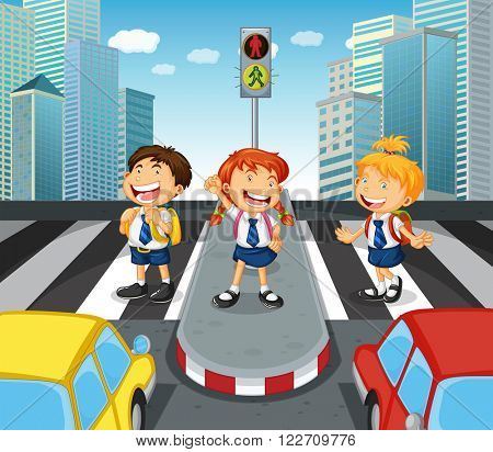 Children crossing the road on zebra crossing illustration