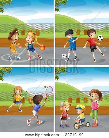 Children playing different sports in the park illustration