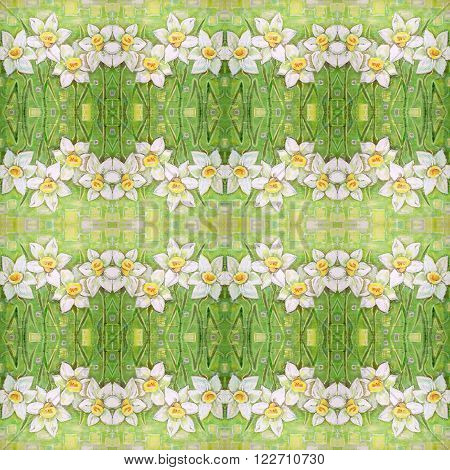 Seamless pattern with ornate narcissus flower or daffodil on the green background. Spring white daffodils on a beautiful acrylic painting background. Daffodils spring flowers or narcissus. Canvas.