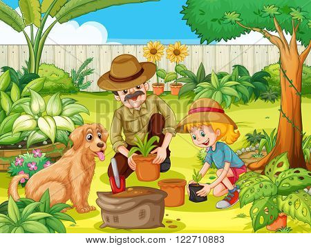 Father and daughter planting tree in garden illustration