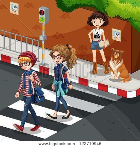 People crossing the road  illustration