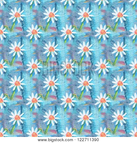 Seamless abstract floral pattern with chamomile flowers. Endless background. Fun and cute texture with cartoon chamomile.