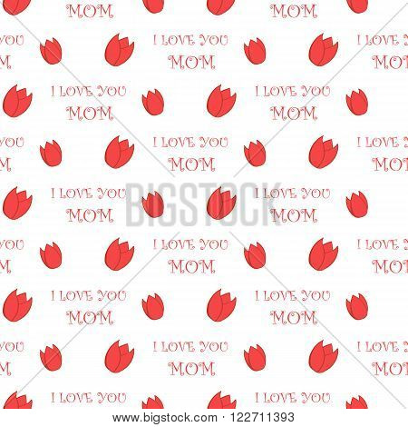 Simple Tulip Icon and I love you Mom text Holiday seamless pattern vector