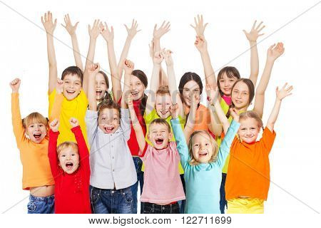 Happy group children isolated at white background. Smiling teen. Frendship boys and girls different ages