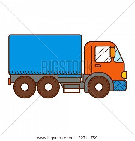 Dump Truck isolated on white background. Vector illustration