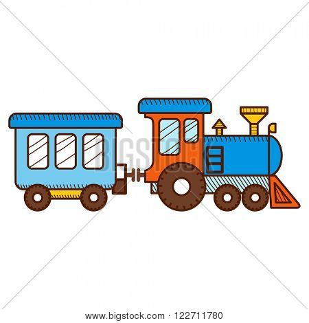 Train isolated on white background. Vector illustration