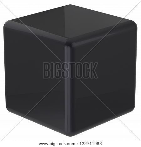 Cube black geometric shape dice block basic box solid square brick figure simple minimalistic glossy element single shiny blank object. 3d render
