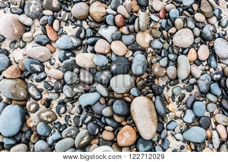 A collection of stones at South Carlsbad State Beach in San Diego, California