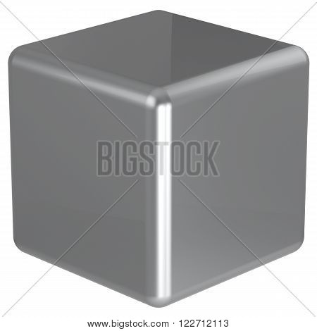 Cube silver chrome geometric shape dice block basic box solid square brick figure simple minimalistic element single white shiny blank object. 3d render