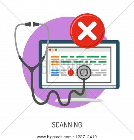 Internet Security and Cyber Crime Concept with Flat Icon Like Computer, Bug and Scanning. Vector for Flyer, Poster, Web Site and Printing Advertising.