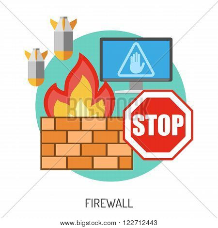 Internet Security and Cyber Crime Concept with Flat Icon Like Firewall, DDoS and Computer. Vector for Flyer, Poster, Web Site and Printing Advertising.