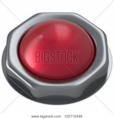 Button red start turn off on action push down activate ignition negative power switch design element metallic shiny blank. 3d render