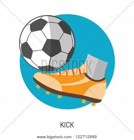 Soccer and Football Flat Icon Set for Flyer, Poster, Web Site like Ball and Kick.