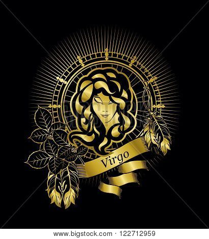 the astrological sign of Virgo on the rectangle in vintage style gold on a black background