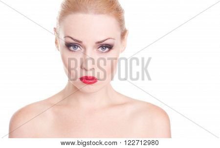 Emotional portrait of young girl 20 years old over white. Looking at camera.