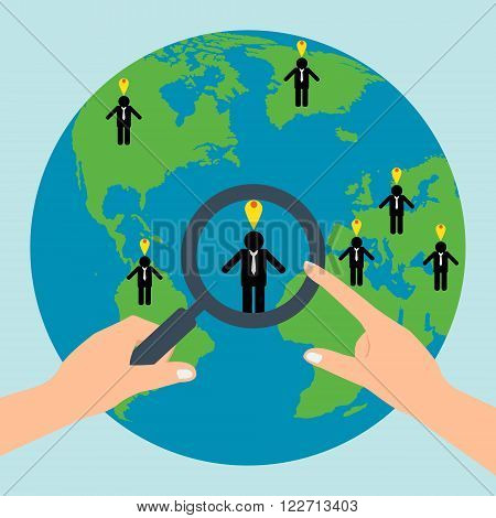 Human resources hold a magnifying glass for choosing the right personal on globe for international best position.Vector illustration recruitment and job search concept.
